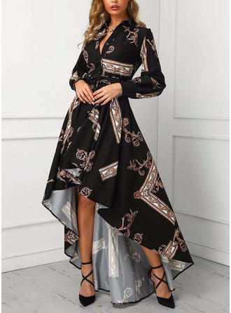 Print Long Sleeves A-line Asymmetrical Casual Dresses