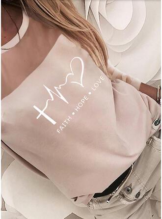 Cœur Imprimé Letter Mousseline Coton Col Rond Manches Longues T-shirts