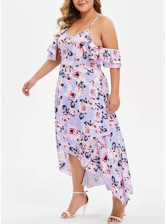 Print/Floral Short Sleeves/Cold Shoulder Sleeve A-line Asymmetrical Sexy/Party/Plus Size Dresses