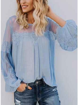 Cotton Blends Round Neck Lace Long Sleeves Casual Blouses