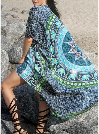 Tropiskt tryck Bohemiskt Strandklänningar Baddräkter
