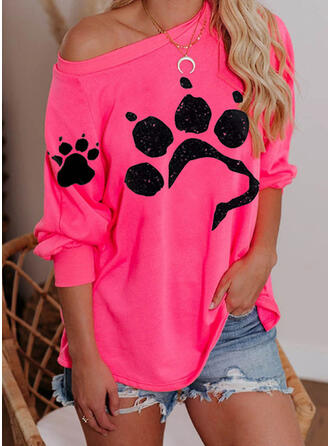 Dierenprint One Shoulder Lange Mouwen Sweatshirts