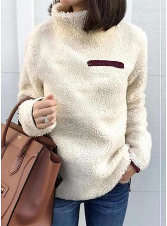 Solid Turtleneck Long Sleeves Casual Blouses