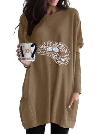 Print Leopard rund hals Lange ærmer Sweatshirts