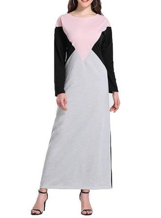 Couleur De Bloc Manches Longues Droite Maxi Décontractée Robes