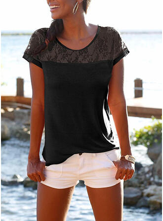 Solid Patchwork Lace Round Neck Short Sleeves Casual T-shirts