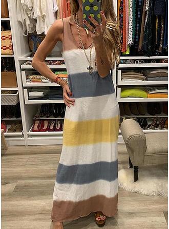 Striped Sleeveless Shift Casual Maxi Dresses