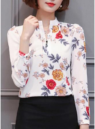 Cotton Lapel Print Long Sleeves Shirt Blouses