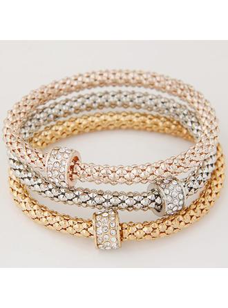 Heerlijk Legering Steentjes met Strass Dames Fashion Armbanden (Set van 3)