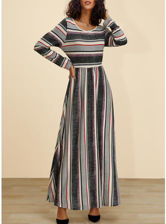 Color Block/Striped Long Sleeves A-line Maxi Casual Dresses