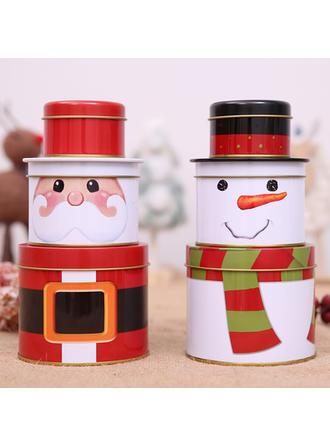 Feliz Navidad Monigote de nieve Papa Noel Metal Tarros de caramelo