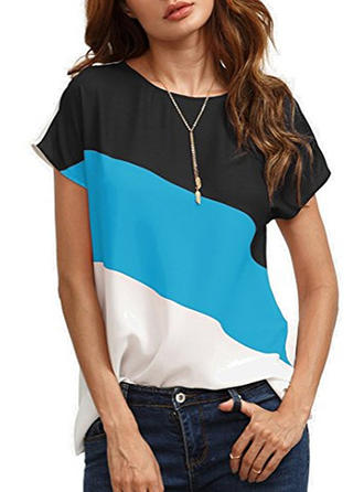 Chiffon Round Neck Color Block Short Sleeves Casual Blouses