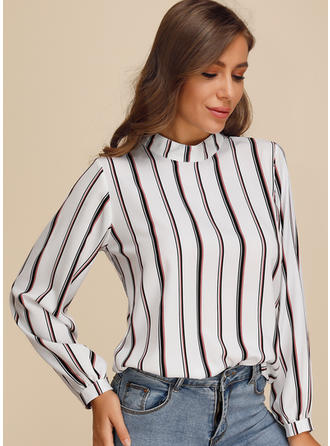Print Striped Stand collar Long Sleeves Casual Elegant Blouses