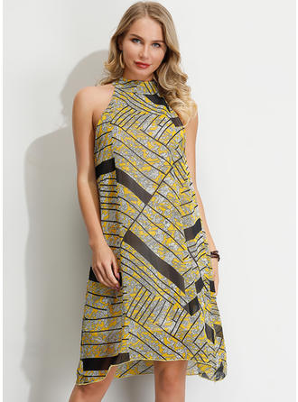Print/Striped Sleeveless Shift Knee Length Party Dresses