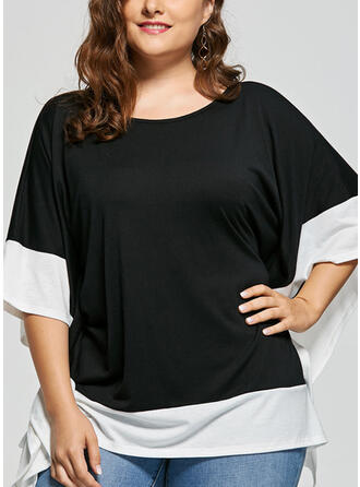 Blocchi di colore Girocollo Batwing Sleeve Maniche a 3/4 Casuale Elegante Taglia grossa Camicie