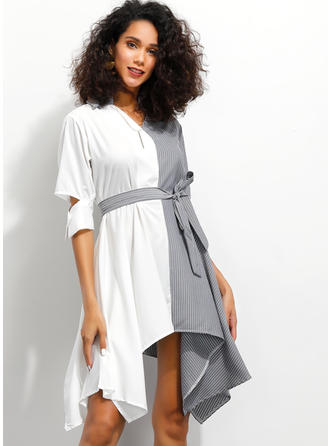 Color-block/Striped/Patchwork 1/2 Sleeves A-line Asymmetrical Casual/Elegant Dresses