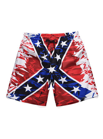 Men's Flag Star Quick Dry Board Shorts