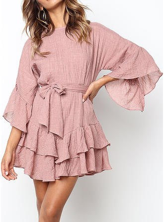 Solid Flare Sleeves A-line Above Knee Casual/Elegant Dresses