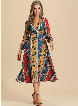 Print/Floral/Patchwork Long Sleeves A-line Midi Casual/Vacation Dresses