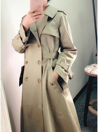Polyester Manches longues Couleur unie Manteau de Tranchée