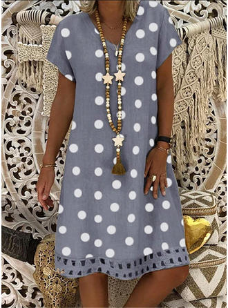 PolkaDot Short Sleeves Shift Knee Length Casual/Vacation Dresses