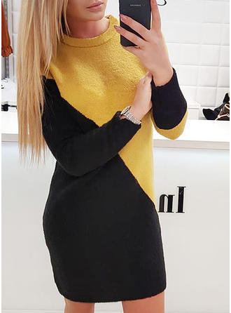Color-block/Patchwork Long Sleeves Bodycon Above Knee Casual Dresses