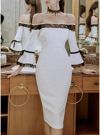 Lace Long Sleeves/Flare Sleeves Sheath Knee Length Casual/Elegant Dresses