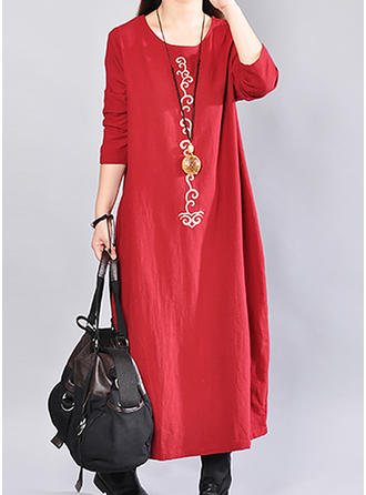 Embroidery 3/4 Sleeves Shift Maxi Casual Dresses