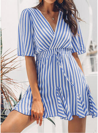 Striped 1/2 Sleeves A-line Above Knee Casual Dresses