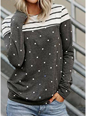 Print Striped Round Neck Long Sleeves Casual Knit Blouses