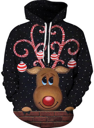 Unisex Cotton Blends Reindeer Christmas Sweatshirt