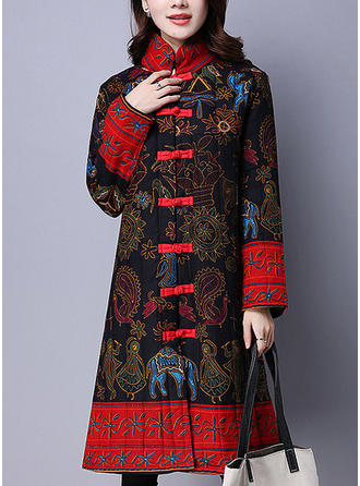 Cotton Long Sleeves Print Down Coats