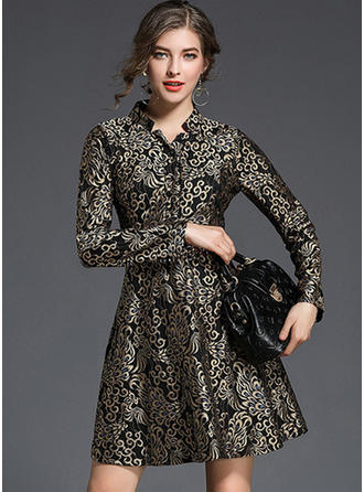 Polyester With Jacquard Above Knee Dress