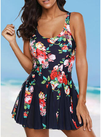 Floral Print Strap U-Neck Vintage Plus Size Swimdresses Swimsuits
