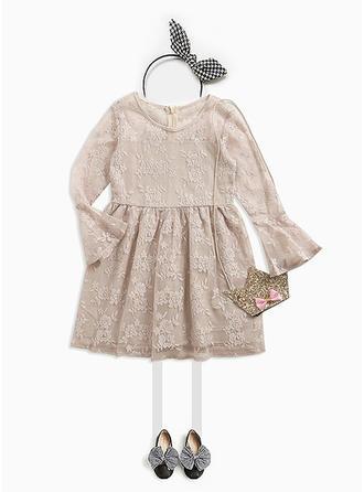 Dziewczyny Okrągły Dekolt Solidny Nieformalny Ładny Sukienka