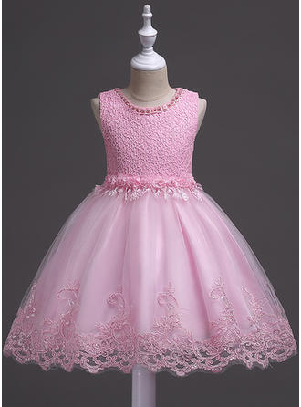 Girls Round Neck Floral Lace Cute Party Flower Girl Dress