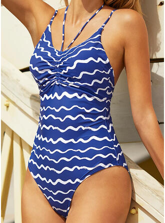 Stripe Halter Sexy Vintage One-piece Swimsuits