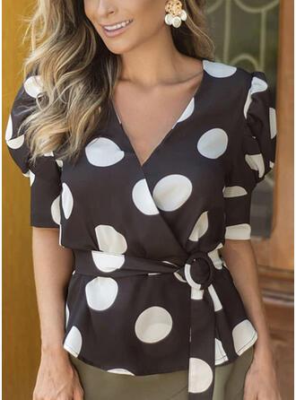 PolkaDot V-Neck Puff Sleeves 1/2 Sleeves Casual Elegant Blouses