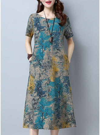 Print Round Neck Midi Shift Dress