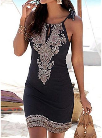Print Sleeveless Bodycon Above Knee Casual/Boho/Vacation Dresses