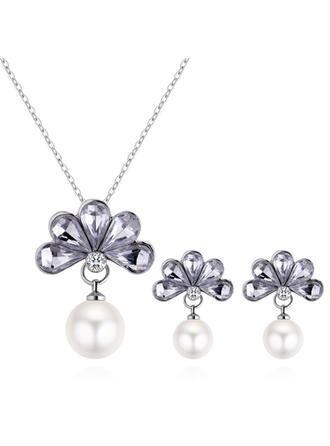 Świecący Stop Cyrkonie Faux Pearl Z Imitacja Pereł Stras/ Krysztal Górski Dla kobiet Zestawy biżuterii (Zestaw 2)