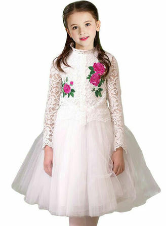 Girls Round Neck Floral Embroidery Party Flower Girl Dress