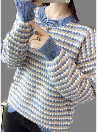 Polyester Round Neck Striped Sweater