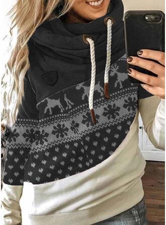 Color Block Dyr Lange ærmer Jule sweatshirt