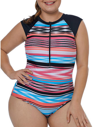Splice color Round Neck Sports One-piece Swimsuits