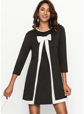 Długie rękawy Linia A Nad kolanem Nieformalny Sukienki