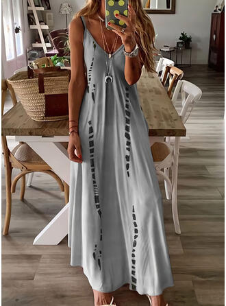 Print/Gradient Sleeveless A-line Slip/Skater Casual Maxi Dresses