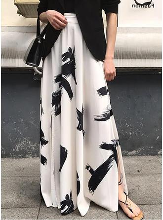 Polyesteri Print Lattiaa hipova pituus A-Line hameet