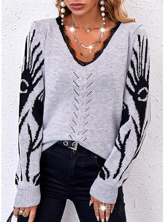 halloween Impresión Encaje Cuello en V Casual Suéteres