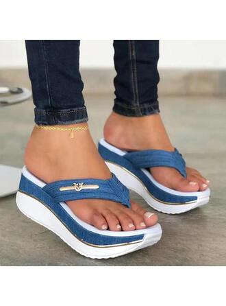 De mujer PU Tipo de tacón Sandalias Plataforma Cuñas Encaje Chancletas Pantuflas Tacones con Agujereado Color de empalme zapatos